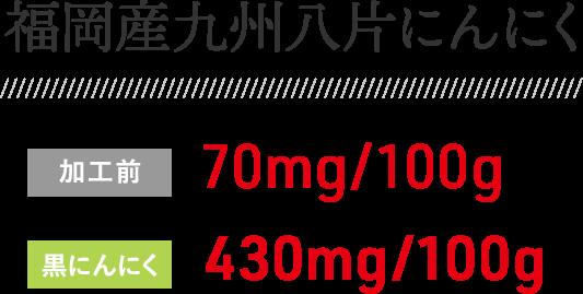 福岡産九州八片にんにく 加工前:70mg/100g 黒にんにく:430mg/100g